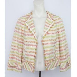 Worth Striped Open Front Lined Cotton Blazer